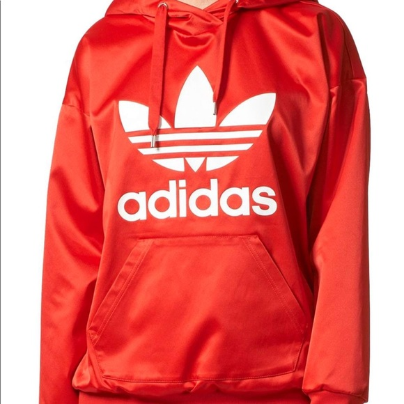 fashion durable in use latest selection Limited edition Red Satin Adidas Hoodie❤️ NWT